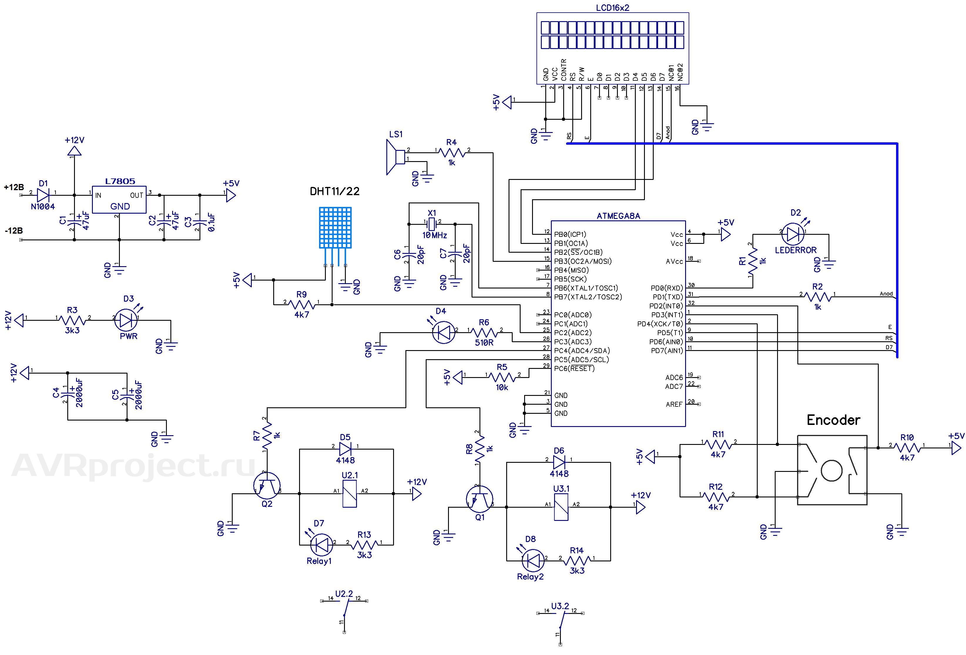 Датчиком влажности/температуры служит венец китайской научной мысли DHT22.  Также пойдет более дешевыйDHT11.