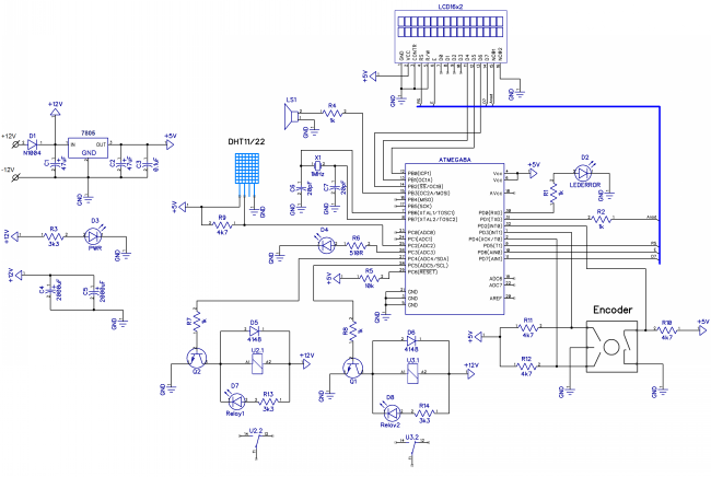 ...стабилизатор L7805, который обеспечивает схему пятью вольтами.