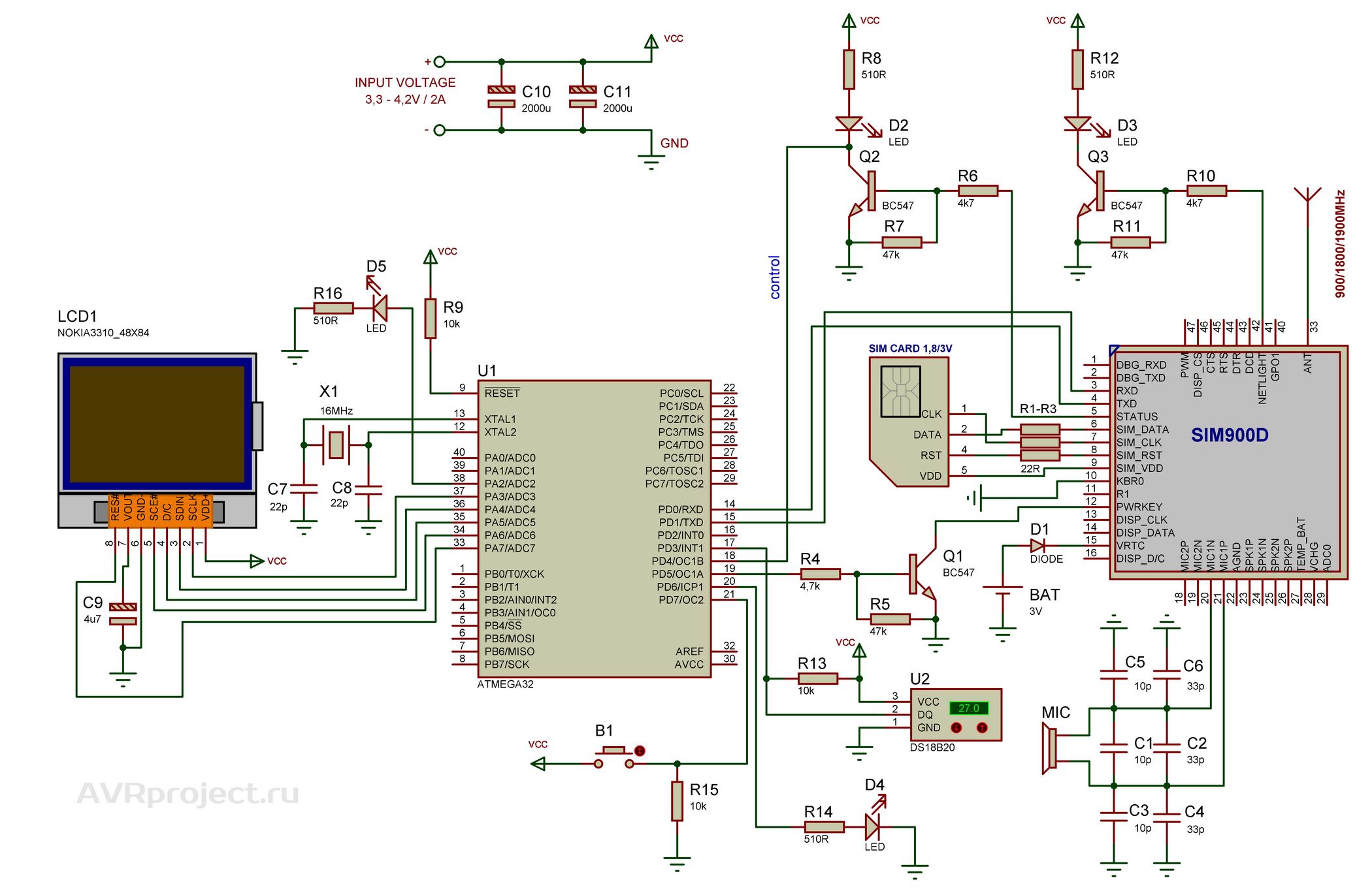 схема цифрового барометра на микроконтроллере atmega64